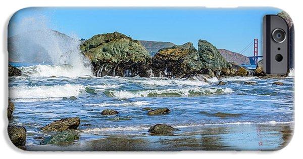 Bay Bridge iPhone Cases - Mile Rock Beach iPhone Case by Cristi Canepa