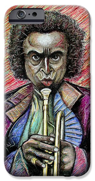Celebrities Art Pastels iPhone Cases - Miles iPhone Case by Jimmy Cothren