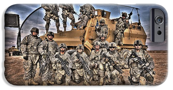 Iraq iPhone Cases - Military Police Pose For This Hdr Image iPhone Case by Terry Moore