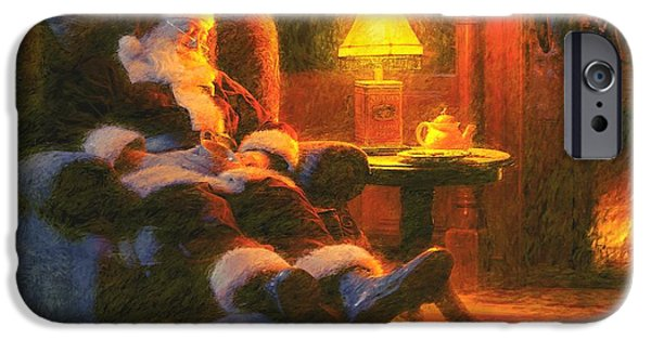 Santa iPhone Cases - Milk and Cookiezzzzz iPhone Case by Greg Olsen