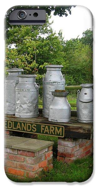 Wiltshire iPhone Cases - Milkcans Wiltshire England iPhone Case by Kurt Van Wagner