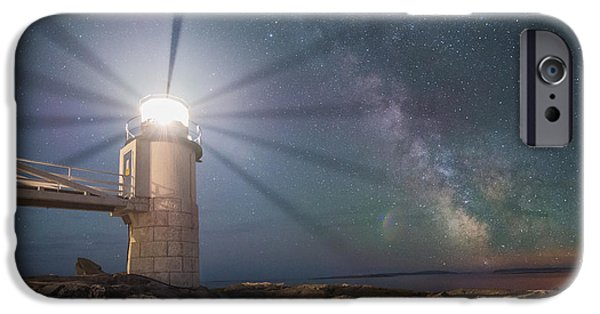 Maine iPhone Cases - Milky Way Beacon of Light iPhone Case by Michael Ver Sprill