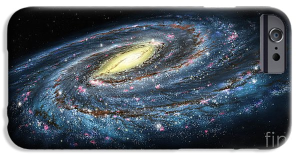 Lynette Cook iPhone Cases - Milky Way Galaxy Oblique iPhone Case by Lynette Cook
