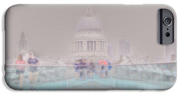 Raining iPhone Cases - Millennium Bridge and St Pauls London 2 iPhone Case by Mo Barton