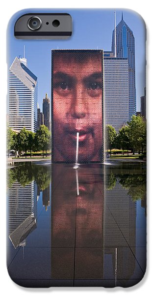 Lakefront iPhone Cases - Millennium Park Fountain and Chicago Skyline iPhone Case by Steve Gadomski