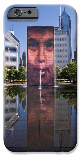 Millennium Park Fountain and Chicago Skyline iPhone Case by Steve Gadomski