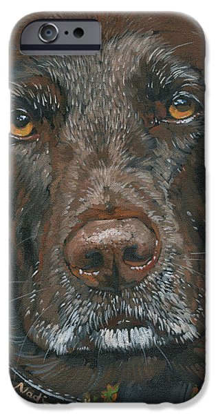 Chocolate Labrador Retriever Paintings iPhone Cases - Millie iPhone Case by Nadi Spencer
