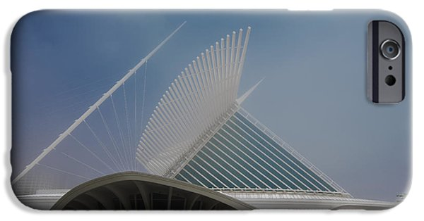 Baseball Stadiums iPhone Cases - Milwaukee Museum of Art Milwaukee Wisconsin Blue 1 iPhone Case by David Haskett