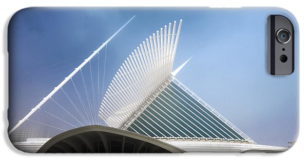 Baseball Stadiums iPhone Cases - Milwaukee Museum of Art Milwaukee Wisconsin Blue 2 iPhone Case by David Haskett