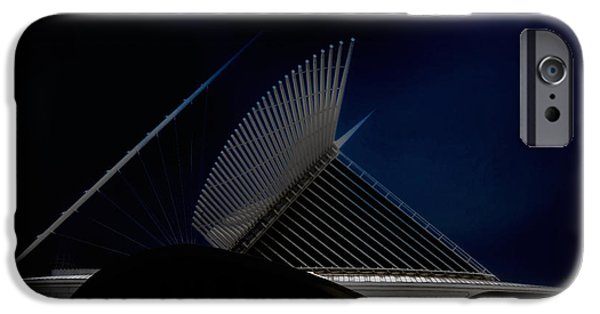Baseball Stadiums iPhone Cases - Milwaukee Museum of Art Milwaukee Wisconsin Blue 3 iPhone Case by David Haskett