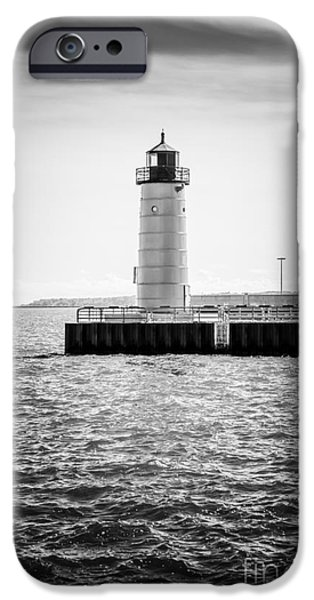 Lake House iPhone Cases - Milwaukee Pierhead Lighthouse Photo in Black and White iPhone Case by Paul Velgos