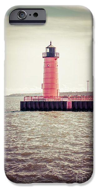 Lake House iPhone Cases - Milwaukee Pierhead Lighthouse Retro Vintage Picture iPhone Case by Paul Velgos