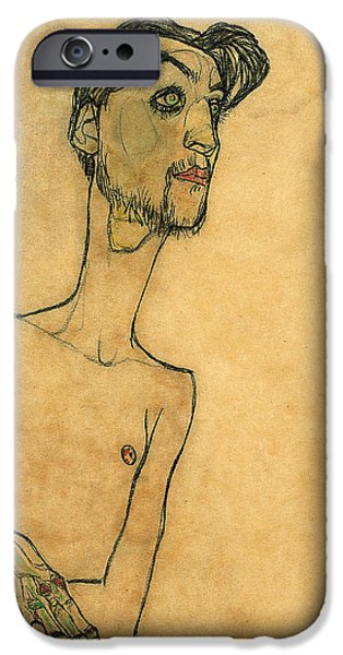Abstract Expressionist Drawings iPhone Cases - Mime van Osen iPhone Case by Egon Schiele