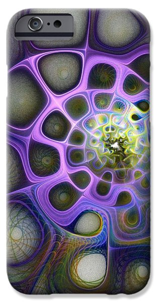 Fractals Fractal Digital Art iPhone Cases - Mindscapes iPhone Case by Amanda Moore