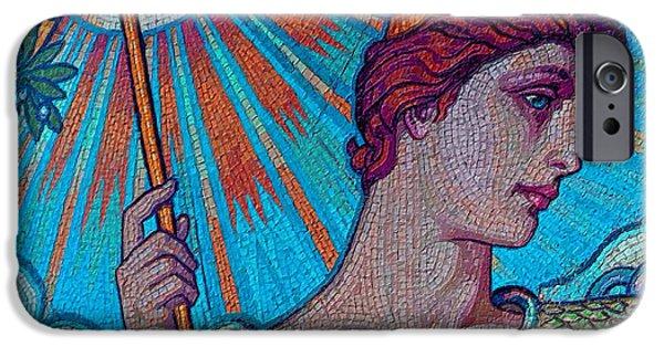 Gray Hair Paintings iPhone Cases - Minerva Goddess Of Wisdom 2 iPhone Case by Tony Rubino