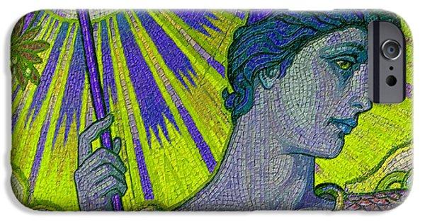 Gray Hair Paintings iPhone Cases - Minerva Goddess Of Wisdom 3 iPhone Case by Tony Rubino