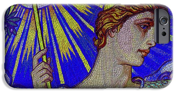 Gray Hair Paintings iPhone Cases - Minerva Goddess Of Wisdom 4 iPhone Case by Tony Rubino