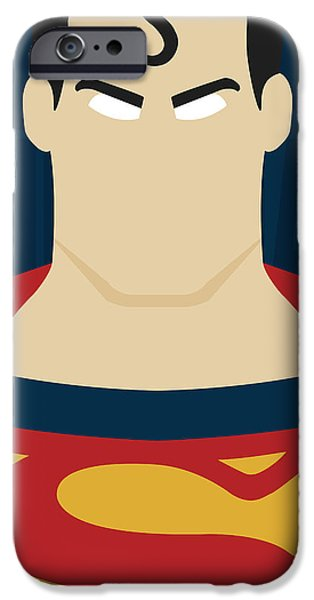 Justice League iPhone Cases - Minimal Superman 1 iPhone Case by Manny Jasus