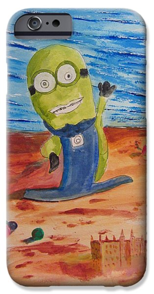 Sand Castles iPhone Cases - Minion at the Beach iPhone Case by Gary Kirkpatrick