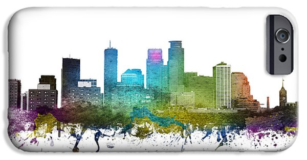 Minnesota Drawings iPhone Cases - Minneapolis cityscape 01 iPhone Case by Aged Pixel