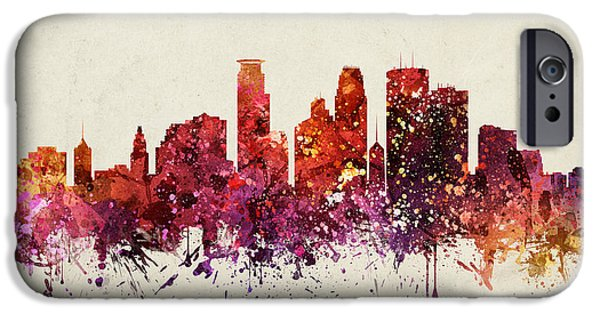 Minneapolis iPhone Cases - Minneapolis Cityscape 09 iPhone Case by Aged Pixel