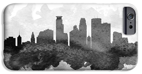 Minnesota Digital iPhone Cases - Minneapolis Cityscape 11 iPhone Case by Aged Pixel