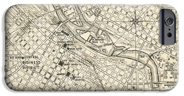 Old Digital Art iPhone Cases - Minneapolis Minnesota Antique Vintage City Map iPhone Case by ELITE IMAGE photography By Chad McDermott