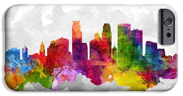 Minnesota iPhone Cases - Minneapolis Minnesota Cityscape 13 iPhone Case by Aged Pixel