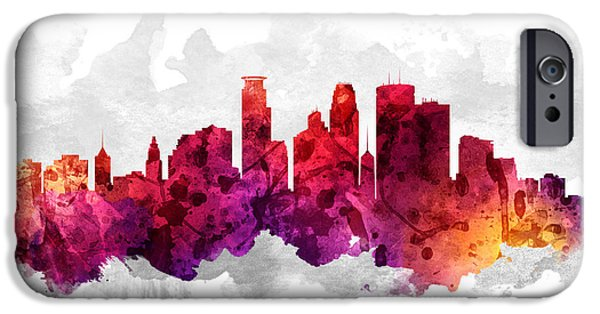 Minnesota iPhone Cases - Minneapolis Minnesota Cityscape 14 iPhone Case by Aged Pixel