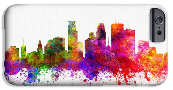 Minneapolis iPhone Cases - Minneapolis Minnesota Skyline color02 iPhone Case by Aged Pixel