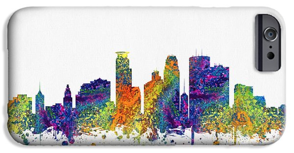 Minneapolis iPhone Cases - Minneapolis Minnesota Skyline color03 iPhone Case by Aged Pixel