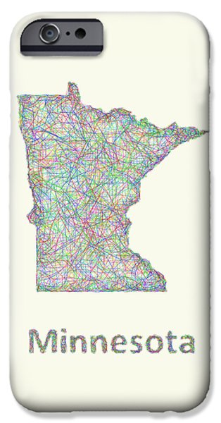 Minnesota Drawings iPhone Cases - Minnesota line art map iPhone Case by David Zydd