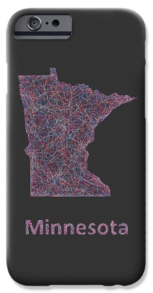 Minnesota Drawings iPhone Cases - Minnesota map iPhone Case by David Zydd