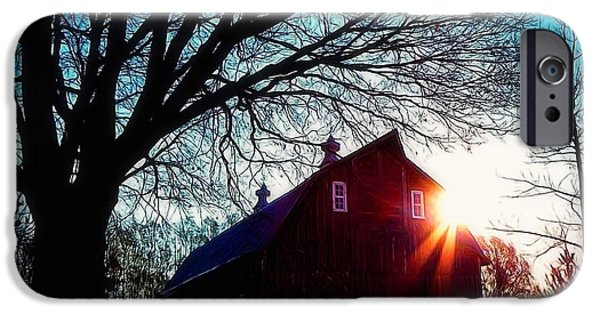 Snow iPhone Cases - Minnesota Winter Barn  iPhone Case by Julie  Kingery Conner