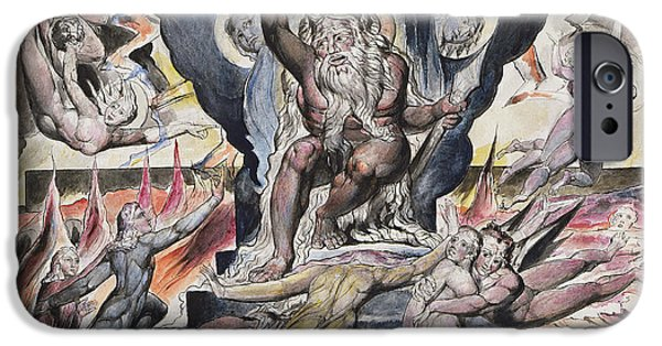 William Blake Drawings iPhone Cases - Minos iPhone Case by William Blake