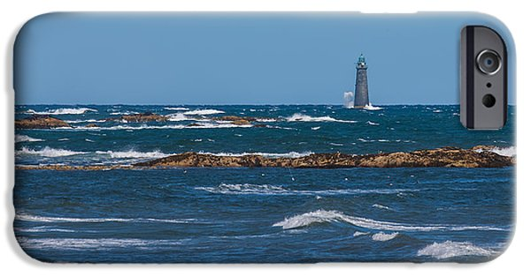 Ledge iPhone Cases - Minot Lighthouse Wave Crash iPhone Case by Brian MacLean