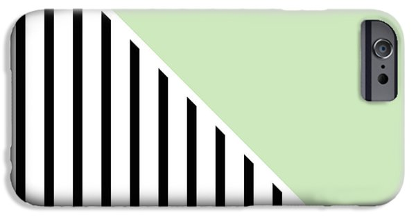 Stripes Digital Art iPhone Cases - Mint and Black Geometric iPhone Case by Linda Woods