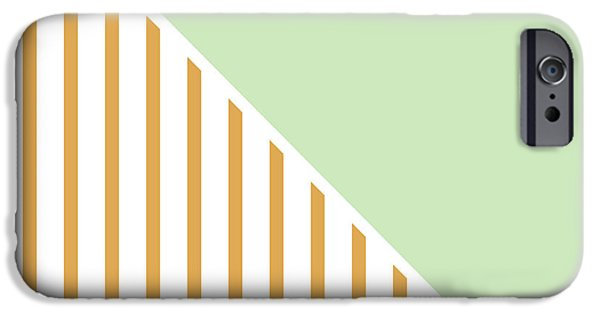 Stripes Digital Art iPhone Cases - Mint and Gold Geometric iPhone Case by Linda Woods