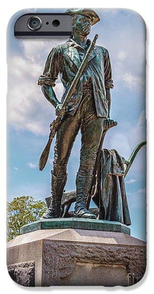 Concord Massachusetts iPhone Cases - Minuteman Statue iPhone Case by Pat Lucas