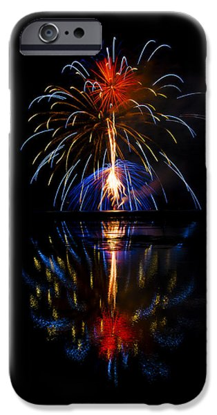 4th July Photographs iPhone Cases - Mirror Firework iPhone Case by Dick Hudson