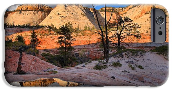 Zion Park iPhone Cases - Mirror In The Zion Desert iPhone Case by Adam Jewell