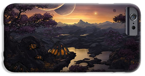Fairy Tale iPhone Cases - Mirror Lakes iPhone Case by Cassiopeia Art