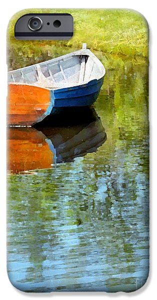 Maine iPhone Cases - Mirror Pond iPhone Case by Helene Guertin