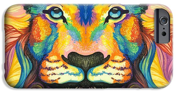 Lion Digital iPhone Cases - Mirrored Lucky Lion iPhone Case by Sarah Jane