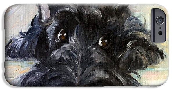 Scottish Terrier Art iPhone Cases - Mischief iPhone Case by Mary Sparrow