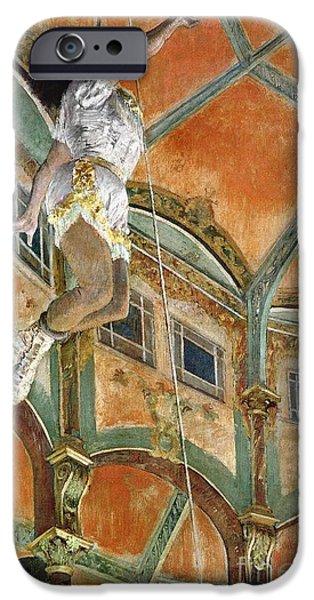 1879 iPhone Cases - Miss La la at the Cirque Fernando iPhone Case by Edgar Degas