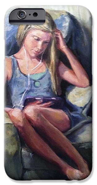 Young Paintings iPhone Cases - Miss Molly iPhone Case by Pamela Nichols