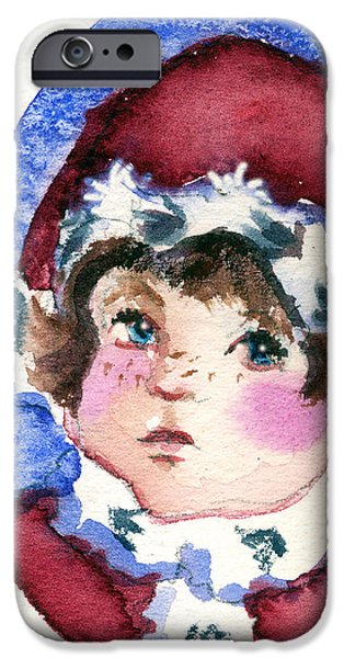 Santa Drawings iPhone Cases - Miss Sugar Plum iPhone Case by Mindy Newman