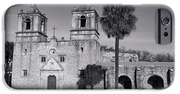 Religious iPhone Cases - Mission Concepcion -- BW iPhone Case by Stephen Stookey