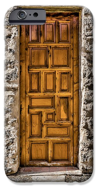 Religious iPhone Cases - Mission Concepcion Door iPhone Case by Stephen Stookey